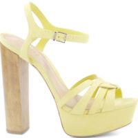 Schutz Women's Yellow Mannu High Heel Platform Ankle Strap Sandal Pumps