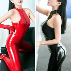 Women's Faux Leather Catsuit PVC Latex Bodysuit 2 Way Zipper Sleeveless Jumpsuit