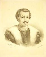 Lithographie Von Jean-Baptiste Mauzaisse Porträt Von Claude De La Trémoille 1825