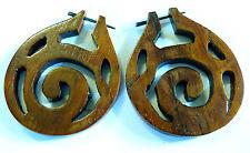 Boucles d'oreilles Créoles Piercing Bois Wooden Earring piercing Ethnique spiral