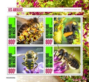 Niger Bees Stamps 2020 MNH Honey Bee Bumblebee Insects 4v M/S
