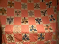 """BEAUTIFUL VINTAGE STAR QUILT """"TOP"""" HAND MADE - MACHINE SEWN"""