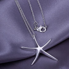 Fashion Women's Silver Starfish Pendant Necklace Elegant Lady Jewelry Gift New