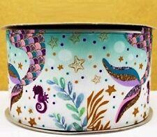 "Grosgrain Ribbon 5/8"", 7/8"", 1.5"" & 3"" Mermaid Tail Sea Horse Animals Printed"