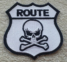 "ROUTE 66 SKULL & CROSSBONE PATCH 3"" Cloth Badge/Emblem/Insignia Biker Jacket Bag"