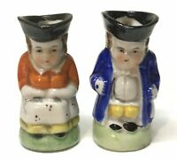 Vintage, 2 Miniature Toby Mugs a Male and a Female - marked Japan, EC