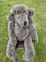 LARGE Handmad SITTING TEDDY BEAR Glass Eyes Jointed Mohair Unbranded Vintage