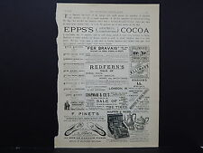 Illustrated London News Ads ONE Double-Sided Page c1888 S2#02 Epps's Cocoa