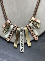 Ladies Bohemian Statement Necklace Drop Pendant Copper Brass Brown Leather Chain