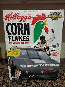 DALE EARNHARDT  UNOPENED NASCAR 24 oz KELLOGG'S CORN FLAKES CEREAL BOX