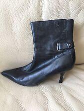 Señoras Nine West De Cuero Negro Tobillo Botas Talla 4,5