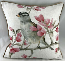 Print of a Bird in a Tree with Brown Piped Edge FILLED Evans Lichfield Cushion