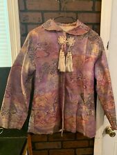 Vintage Asian Chinese Silk Brocade Purple Floral Blazer Jacket Coat Womens