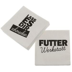 Servietten 2er Pack (40 Stück) Spruch Weiß Schwarz Papierserviette Tischdeko