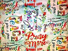 BEAUTIFUL PEACE LOVE NEVER FAILS PRAY BIBLE QUOTES RELIGIOUS COTTON FABRIC FQ