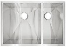 Kitchen Sink Double Basin Modern Shape Stainless Steel Zero-Radius 10 in Deep
