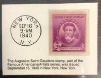 1940 Three Cent Stamp Augustus Saint-Gaudens GMA GEM MT 10