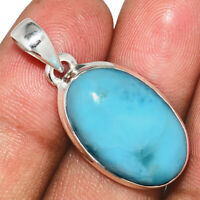 Genuine Larimar - Dominican Republic 925 Sterling Silver Pendant Jewelry AP86329