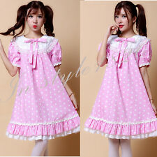Cosplay Lolita Maid Outfit Pink Dresses Print Costume lace Cotton Princess Dress