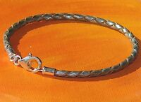 Ladies / mens 3mm Silver leather & sterling silver bracelet by Lyme Bay Art.
