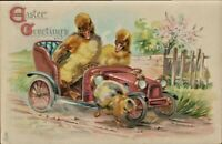 Antique Postcard  Easter Fantasy Tuck's  Fuzzy Ducks Driving Car Chick  No.715 A