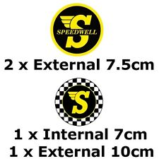 Speedwell Round Sticker Pack 4x Stickers (Classic Mini Cooper VW Camper Beetle)