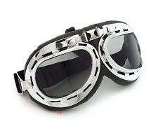 Vintage Aviator Style Motorcycle Scooter Goggles - Black Chrome - Smoke Lens