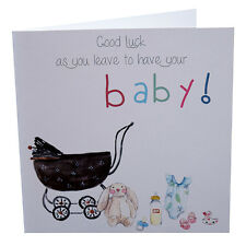 Good Luck Leaving to have a Baby Card & Handmade Luxury Envelope 148mm sq