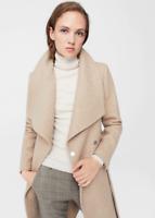 Mango Lapels Wool Coat Beige Size M UK 10 rrp £139.99 DH087 FF 17