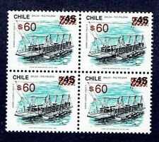 CHILE 1992 OVPD STAMP # 1382 MNH BLOCK OF FOUR TRANSPORTATION BOAT BALSA