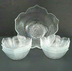 "Arcoroc ""Totem"" fruit set - 1 serving bowl 21.5 cm & 6 small bowls 12 cm -France"