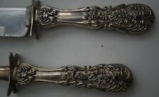 VERY ORNATE VINTAGE SILVER PLATE CARVING SET BY INTERNATIONAL SILVER  FLORAL MOT