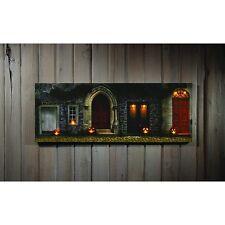 X46653 Lighted Doorway Display Canvas Painting Picture Art Owl Pumpkin Halloween
