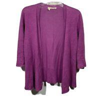 Eileen Fisher Womens Linen Open Knit Open Front Cardigan Size XS Purple