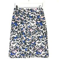 J. Crew Womens Black Blue Pink Floral Knee Length Zip Up Pencil Skirt Size 4