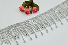 crystal glass fringe A grade rhinestone silver sewing on craft  by the yard