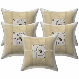 Ethnic Embroidered Brocade Patchwork Pillow Cases Polydupion Silk Cushion Covers
