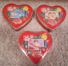 3 Vintage But New Valentine'S Day Love Heart Cupid Heart-Shaped Tins