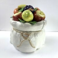 Fitz and Floyd Ceramic Cookie Jar 1990 Fruit Burlap Sack Canister Rare