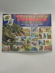 45ct Genuine all different Dinosaur Postage Stamps Plus 3 Bonus Album Pages