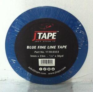 """J TAPE 3mm x 33m Blue Fine Line Masking Tape JTape 1/8"""" x 36 yard"""