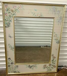 """LaBARGE CHINOISERIE DECORATED 43"""" x 34"""" MIRROR Hand Painted Eglomise Glass Frame"""