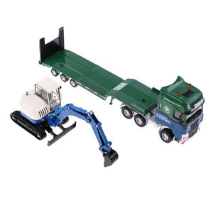 1:50 Mini Diecast Flatbed Trailer+Excavator Model for Home Table Decors Gift