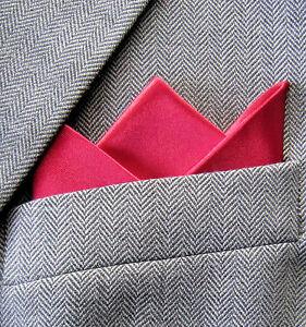 SUPERNOVA Red Satin 3 Point Carded Pocket Handkerchief Mod Crombie Suit Wedding
