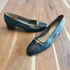 Vintage Salvatore Ferragamo Boutique Brown Croc Horsebit Pumps Women's 8 C