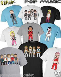 VIPwees Mens T-Shirt ORGANIC Cotton Pop Music Inspired Caricatures Choose Design