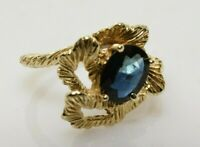 Vintage Natural Sapphire Custom Flower Ring in 14k Gold 1.07 Carats Size 8