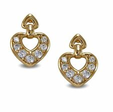 Small Heart Stud Earrings 18ct Gold Filled White CZ Crystals Womens Girls BE979