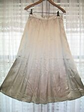 NEW BALDANZA LONG PLEATED SILVER PURE SILK A-LINE OCCASION/EVENING SKIRT~SIZE 2