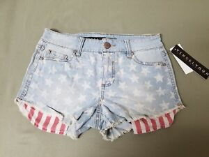 new womens denim star shorts by tinseltown denim couture.  retail 39.00